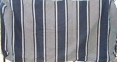 Large Antique French Striped Ticking Flat Cushion Bolster Case, Needs Feathers
