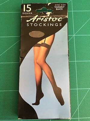 Vintage Aristoc Stockings 15 Denier One Size Vaguely Black Nylon 73de7145922