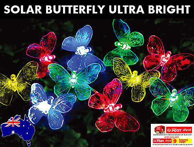 20 Led Multi Colour Solar Butterfly Christmas Outdoor Garden String Lights