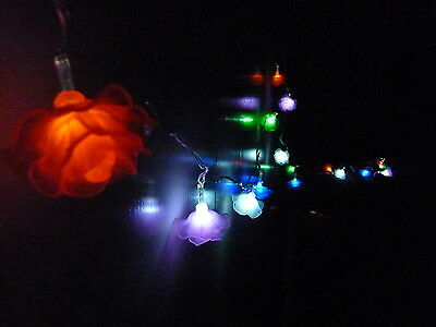 20 Led Multi Colour Rose Solar Christmas Outdoor Garden String Lights