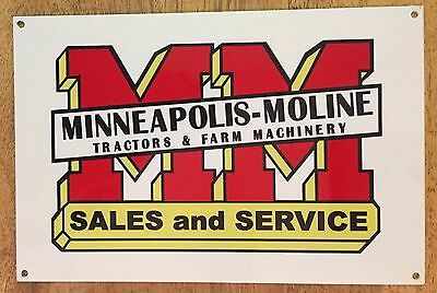 Minneapolis Moline Tractors & Farm Machinery Sales and Service Heavy Metal Sign