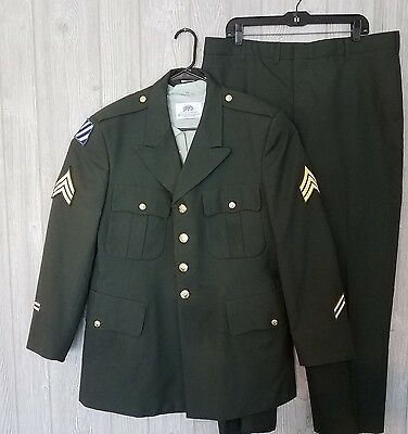 US Army Dress Green Jacket, Shirt and Pants Uniform Sergeant, Infantry Patch