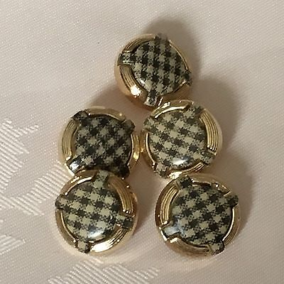 5 x 20 mm Plastic Gold Coloured Buttons #515