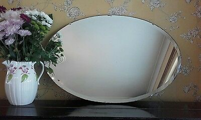 *~*large 1930's Oval Bevelled Edge Mirror With Original Hanging Chain*~*