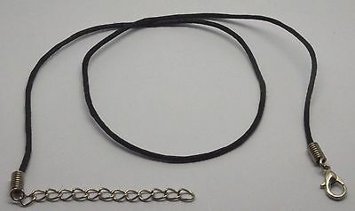Black Waxed Cotton Bootlace Necklace - All Lengths - Black Chain With Extender