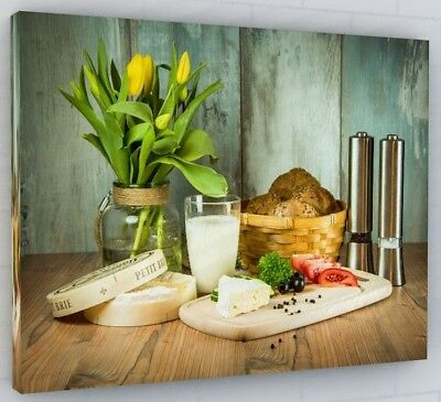 Chic Kitchen Cafe Canvas Picture Print Wall Art Chunky Frame Large 259-2