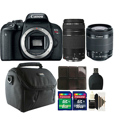 Canon EOS Rebel T7i / 800D 24.2MP DSLR Camera + 18-55mm + 75-300mm Lens Kit