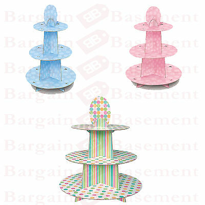 3 Tier Cupcake Stand Pink Blue Stripes Dots Food Platter Round Display Party