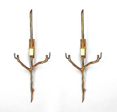 Pair of French Post-War Gilt Bronze Single Arm Wall Sconces
