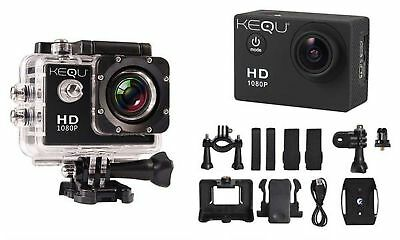 Kequ HD 1080p 16MP Water-Resistant Action Camera Car Sports Home Cycling Home