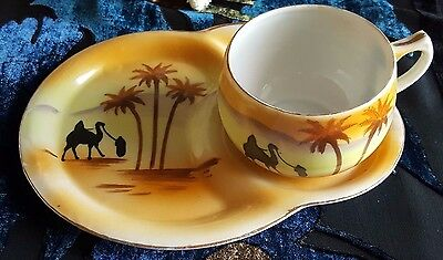 Vintage Cup & Lunch/Saucer Plate Egyptian Sunset Desert Scene Palm Trees Camel