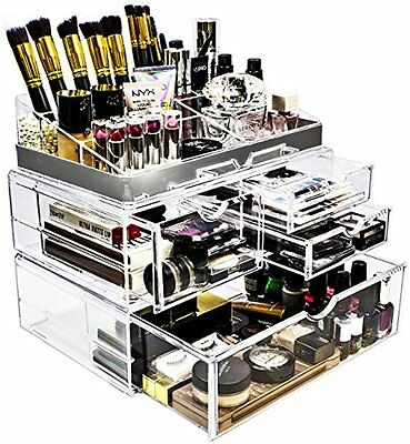 Sorbus Acrylic Cosmetic Makeup and Jewelry Storage Case Display with Silver Trim