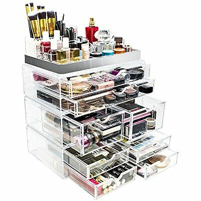 Sorbus Acrylic Makeup and Jewelry Case Display with Silver Trim (Silver Set 2)