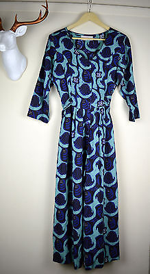Vintage 80's Gallery All In One Blue Wide Cropped Leg Jumpsuit Size 8/10