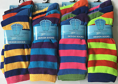 6X Pairs Kids Boy Girl Designer Coloured Stripe Eveyday Print Fashion Socks