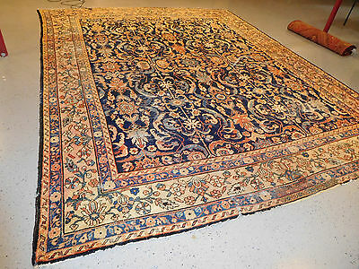 Antique rug estate Persian Mahal Sultanabad lovely large carpet distressed Worn