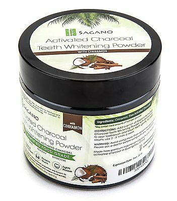 Activated Charcoal Teeth Whitening Powder 100% Natural With Organic Cinnamon New