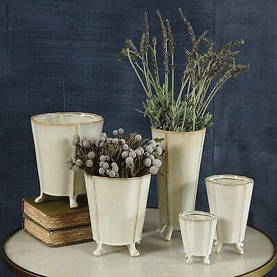 French Country Shabby Chic Cottage Vintage Replica Footed Ceramic Vase Cachepot