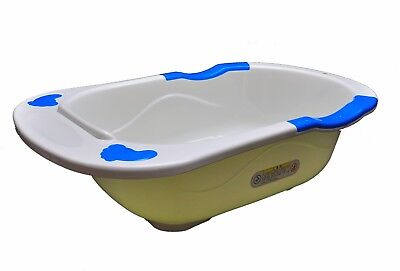 New Baby Infant Newborn Bath Tub with  Armrest Support Blue sides