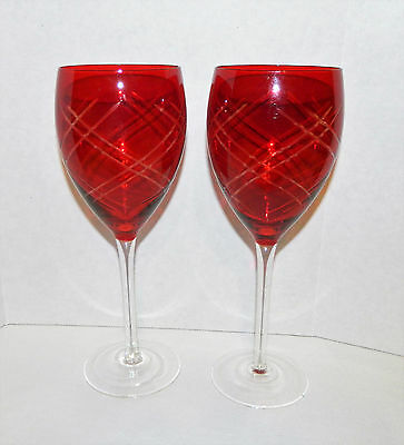Lot of 2 Ruby Red Cut to Clear Criss Cross Glass Goblets 16 Oz