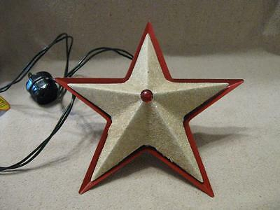 Lovely VTG Glolite Tin Red & White Illumintated Christamas Tree Star Light