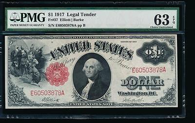AC Fr 37 1917 $1 Legal Tender PMG 63 EPQ uncirculated !!!