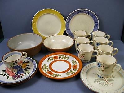 Vintage Re Sellers LARGE LOT STANGL Stoneware Plates Cups Bowls Hand Painted VGC