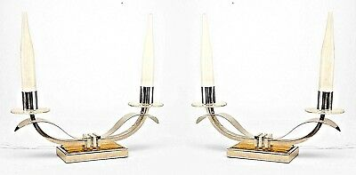 Pair of French Art Deco Nickel Plate 2 Arm Candelabra Form Lamps