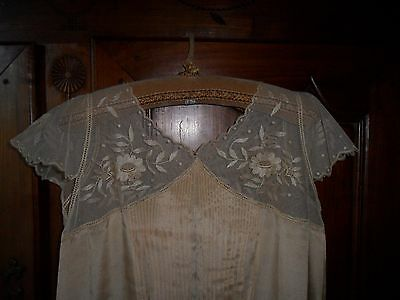 Antique French silk nightgown.Neckline tulle hand embroidered flowers.C1930.