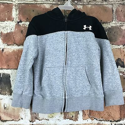 Boys Size 5 Under Armour Full Zip Hoodie Black Gray Athletic Sweatshirt