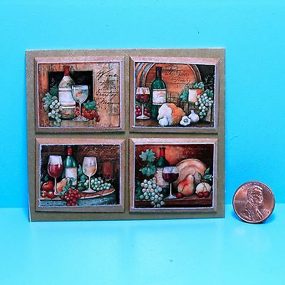 Dollhouse Miniature Set of 4 Wine Pictures on Wood Plaque Frames ~ P663