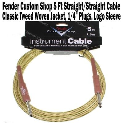 Fender Custom Shop 5 ft Tweed Instrument Guitar Cable Cord Straight Logo NEW