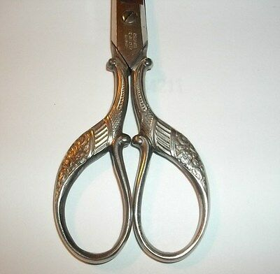 1910-1920 Antique Vintage Ornate Peacock Scissors Crown Cutlery Company Germany