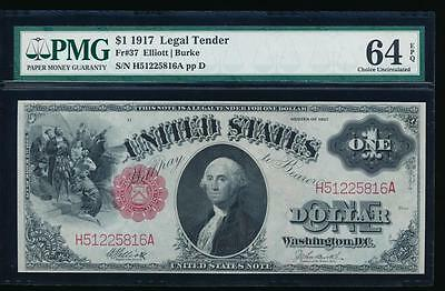 AC Fr 37 1917 $1 Legal Tender PMG 64 EPQ uncirculated !!!
