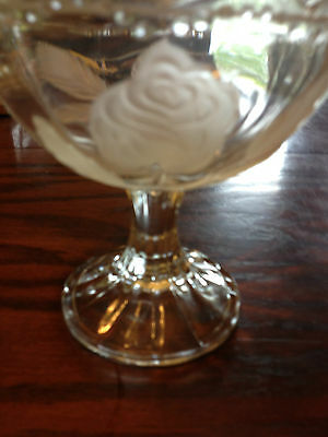 Vintage Indiana Clear Glass Etched Roses Compote Footed Candy Dish
