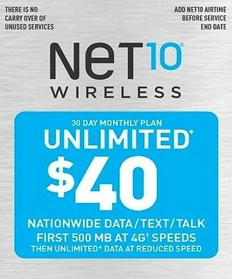 Net10 wireless $40 unlimited 30 day 4GB service card