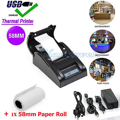 POS ESC Thermal Receipt Printer USB 58mm Cutter Bill Paper Print Retail Stores