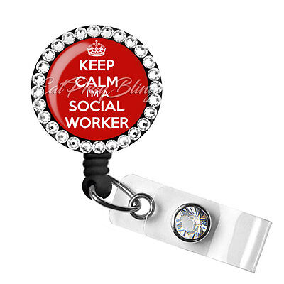 Retractable Badge Reel Name ID Pull Holder Social Worker LCSW Graduation Gift