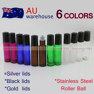 12~288PCS 5ml 10ml THICK Glass Roll On Bottles Big Roller Ball Essential Oils