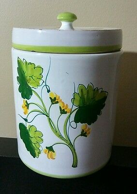 """Vintage Large 12"""" Biscotti Hand Painted Floral Yellow Cookie Jar For Nonni's"""