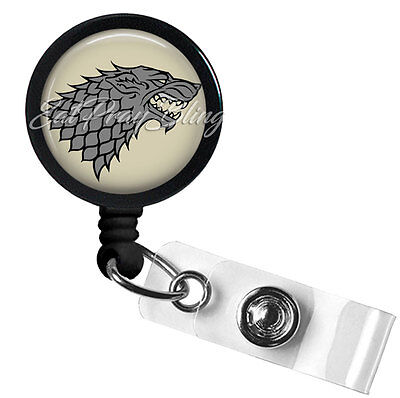 Retractable Badge Reel Name ID Pull Clip Holder Lanyard Game of Thrones Stark