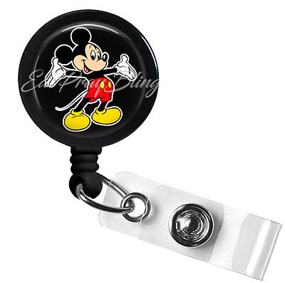 Retractable Badge Reel Name Tag ID Pull Clip Holder Lanyard Mickey Mouse Gift