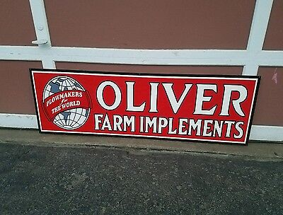 Big Oliver farm implement sign Farm Seed feed tractor gas oil porcelain