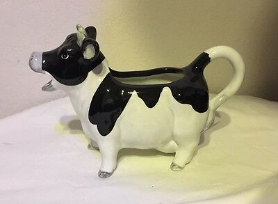 Vintage Otagiri Cow Creamer Milk  Pitcher Holstein Black White