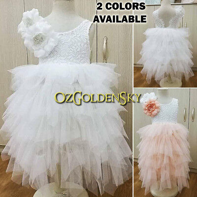 Flower Girl Dress Lace Tutu Maxi Dress Wedding Communion WITH Flowers Brooch Pin