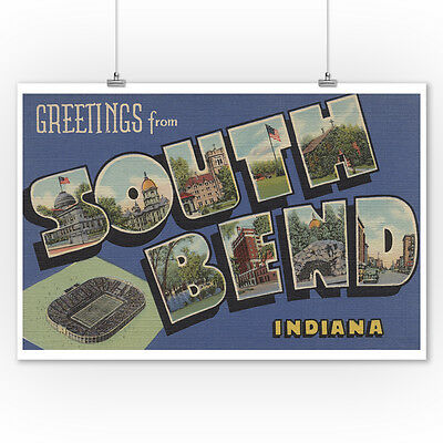 Greetings from South Bend, IN - Vintage Halftone (9x12 Art Print)