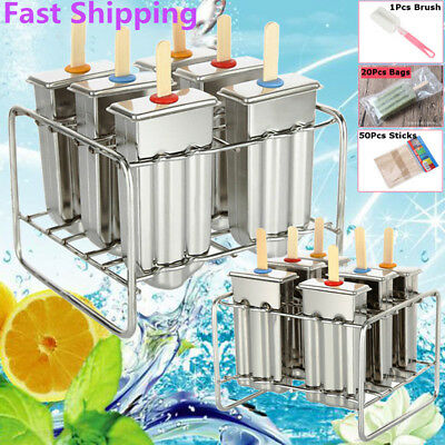 6 Mould Stainless Steel Molds Ice Pop Lolly Popsicle Ice Cream Holder + 50 Stick