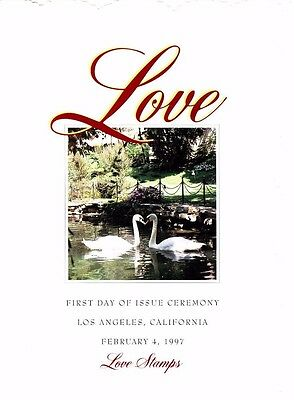 USPS First Day of Issue Ceremony Program #3123 & 3124 Love Swans FDOI 1997