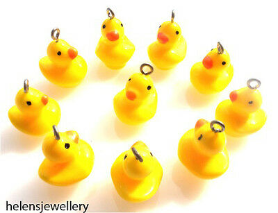 10 Yellow Rubber Duck Charms Cabochons Kawaii Decoden - Fast Free Shipping