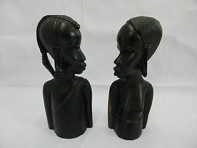African tribal wood carving man and woman pair busts